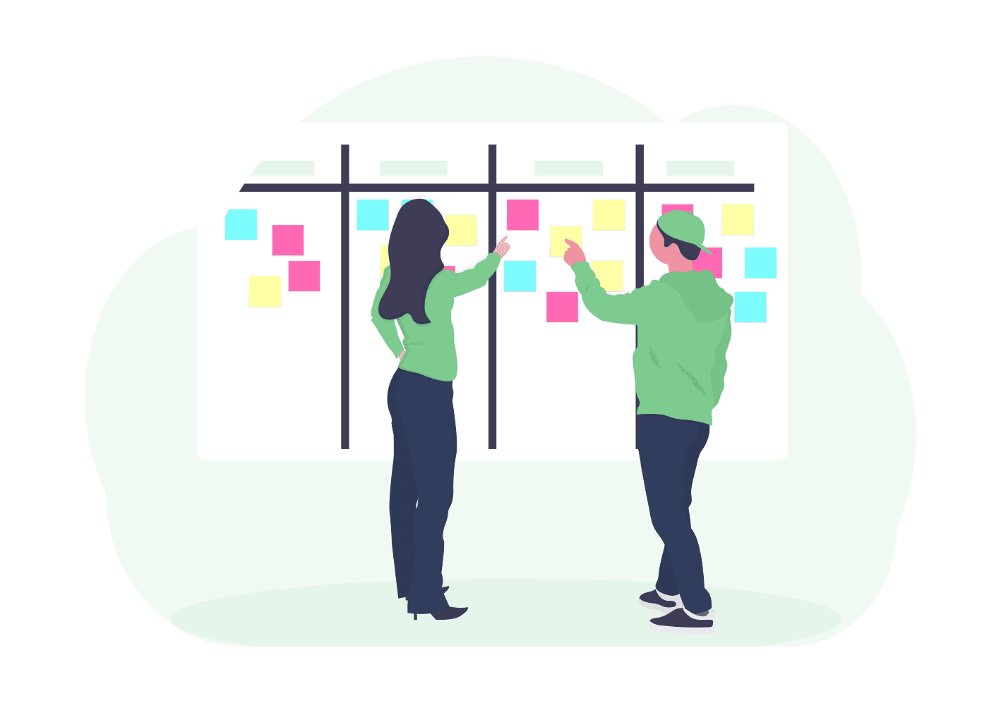 Woman provides business coaching on how to use a scrum board